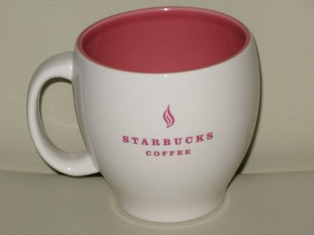 Starbucks City Mug 2004 Pink on White Tea Leaf Logo Abbey Mug