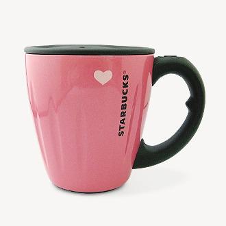 Starbucks City Mug Pink Heart Black Handle From Japan