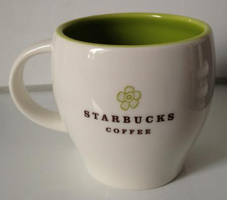 Starbucks City Mug 2010 Light Green Flower  8 oz Abbey Mug