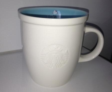 Starbucks City Mug 2013 15th Anniversary Abbey Blue Interior  Logo Mug