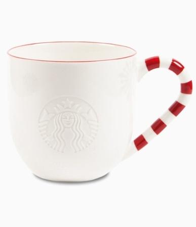 Starbucks City Mug 2013 Red Rim Embossed Logo Candycane Mug 16oz