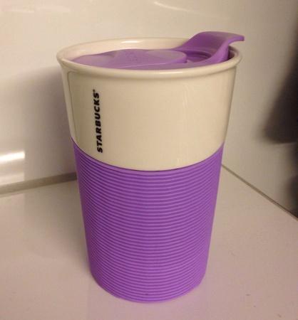 Starbucks City Mug 2014 Ceramic Traveler with Purple Sleeve 8oz