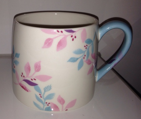Starbucks City Mug 2014 Blue Handle Spring Flower Mug