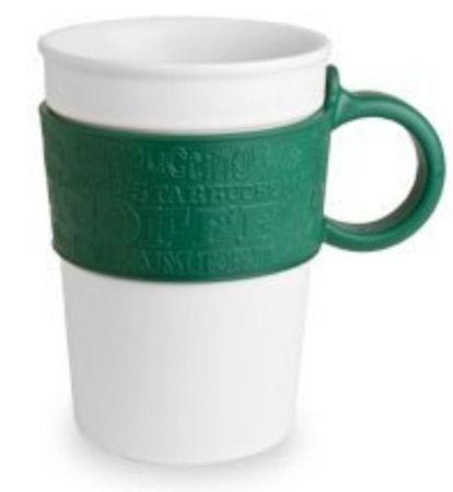 Starbucks City Mug 12oz Starbucks 2008 Green Rubber Sleeve Handle White Ceremic Mug