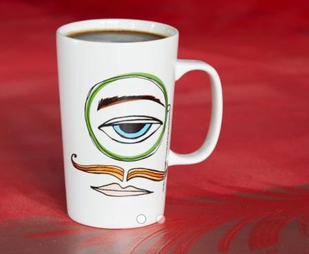 Starbucks City Mug 2014 Dot Collection Monocle Man Mug 16oz