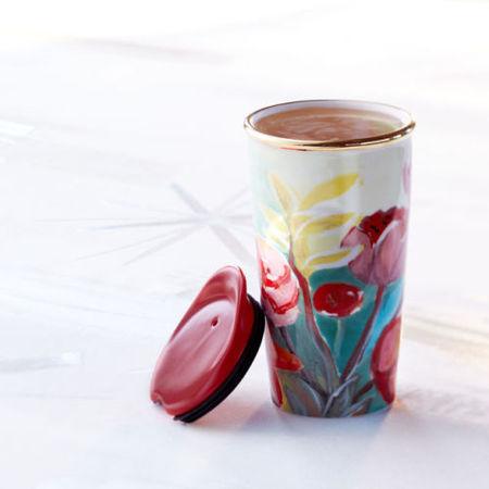 Starbucks City Mug 2014 Double Wall Travel Mug: Painted Flowers