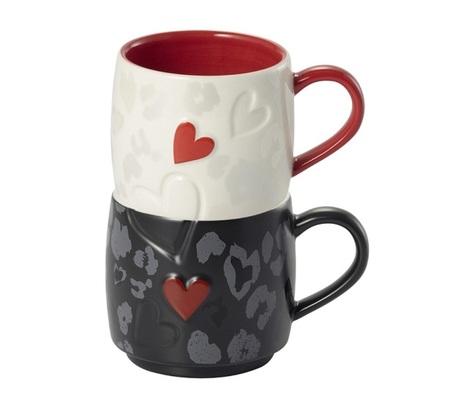 Starbucks City Mug 2015 Set of Two Stackable Valentine Mugs 8oz