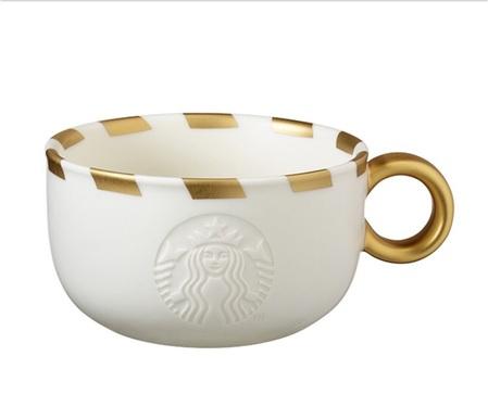 Starbucks City Mug 2015 Gold Striped Logo Mug 12oz
