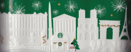 Starbucks City Mug 2015 Paris Green Relief