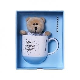 Starbucks City Mug 2016 Chinese Valentines Blue mug with bearista keychain