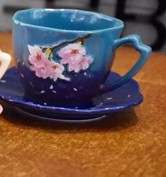 Starbucks City Mug 2017 Night Sakura Cup with saucer