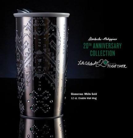 Starbucks City Mug 2017 20th Anniversary Glamourous White Gold Double Wall Mug