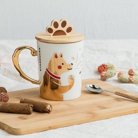 Starbucks City Mug 2018 CNY Golden Dog Mug with Lid