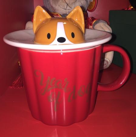 Starbucks City Mug 2018 Year of Dog Mug with Peeking Dog Saucer