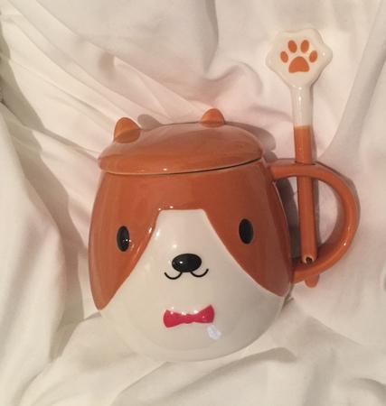 Starbucks City Mug 2018 Cute Puppy Mug with Lid and Spoon