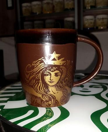 Starbucks City Mug 2012 Anniversary Gold Siren Brown Mug