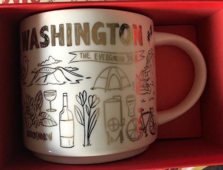 Starbucks City Mug 2018 Washington Gold Holoday Been There Series