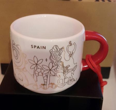 Starbucks City Mug 2018 Spain Christmas YAH Ornament 2 oz