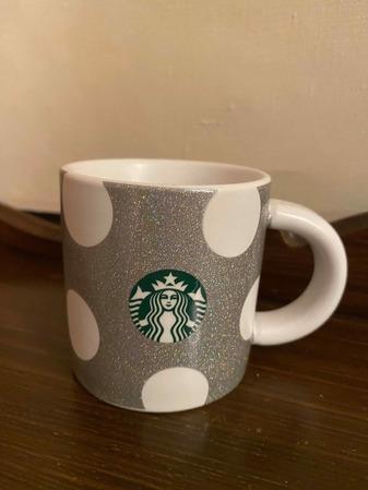 Starbucks City Mug 2019 Holiday Demi Silver Sparkle with White Polka Dots